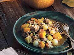 Bal kabağında sebzeli et