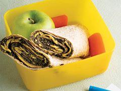 Çedarlı tortilla, yeşil elma ve havuç