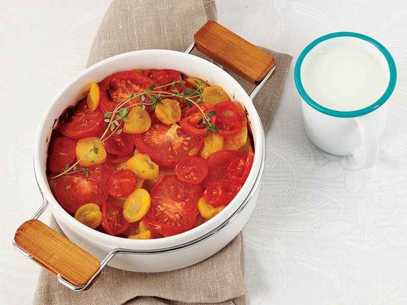 Domatesli Ve Kremalı Patates Dilimleri
