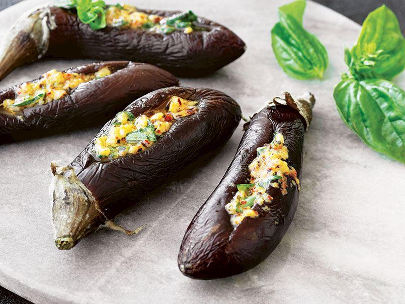 Hardal soslu mini patlıcan