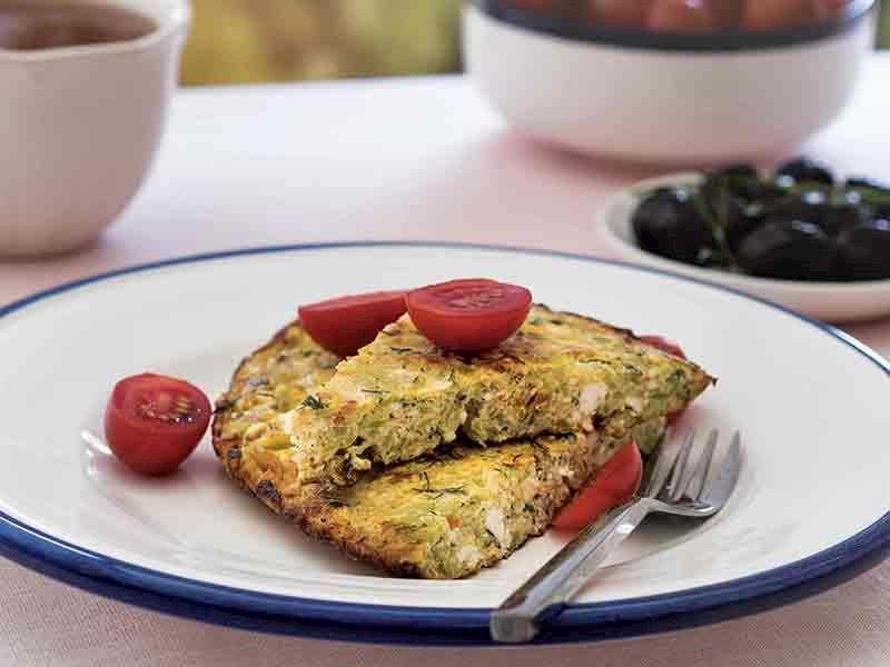 Kabaklı ve lor peynirli omlet