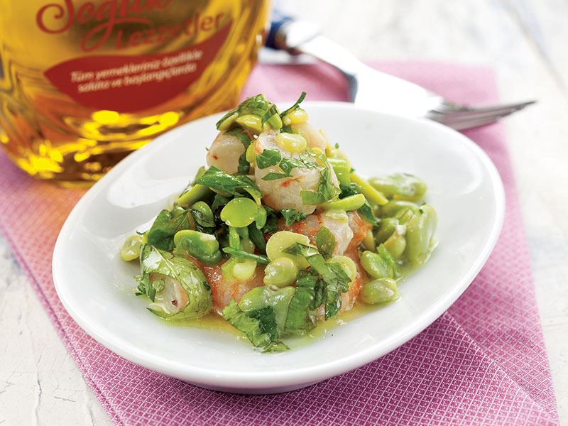 Karidesli Bakla Salatası