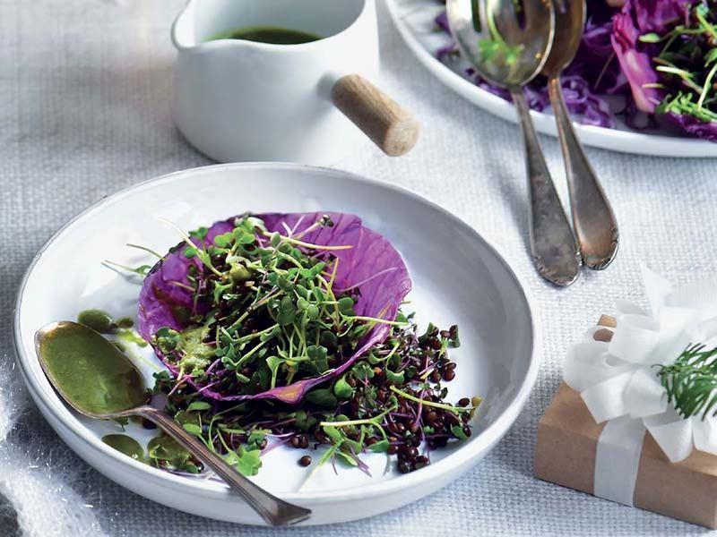Lahana kasesinde mikro yeşilli mercimek salatası