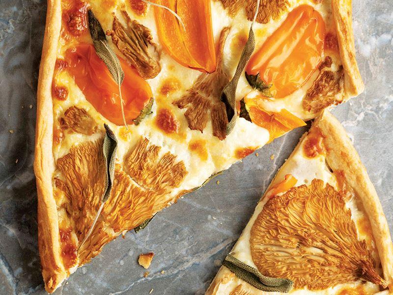 Mantarlı mozzarellalı ve adaçaylı tart