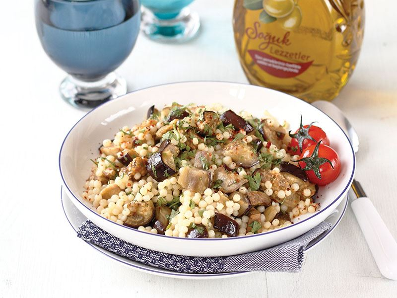 Naneli Ve Izgara Patlıcanlı Kuskus Salatası
