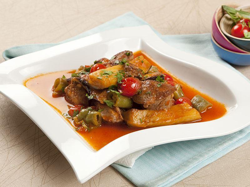 Patlıcanlı, Domatesli Et Yemeği