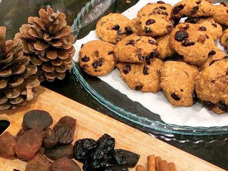Şekersiz kuru meyveli yulaflı kurabiye