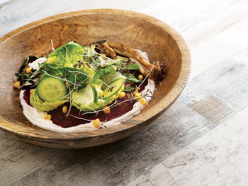 Shichimi baharatlı, yoğurtlu pancar salatası