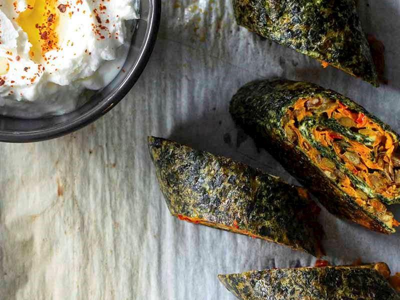 Yeşil mercimekli ıspanaklı rulo